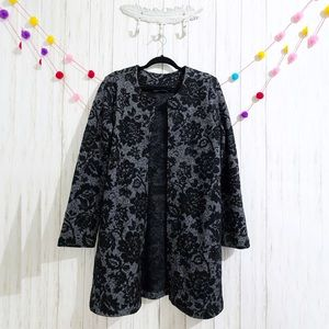 Cynthia Rowley wool floral print sweater coat